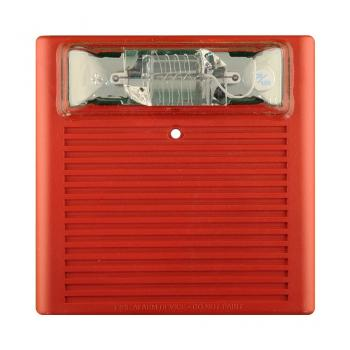 Còi/Đèn chớp kết hợp 24VDC chống thời tiết, 75CD, treo tường, màu đỏ ( cần có hộp backbox WPBB-R )